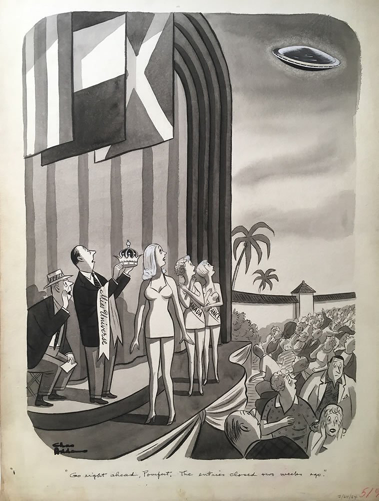 Charles Addams - Flying saucer approaches Miss Universe pageant