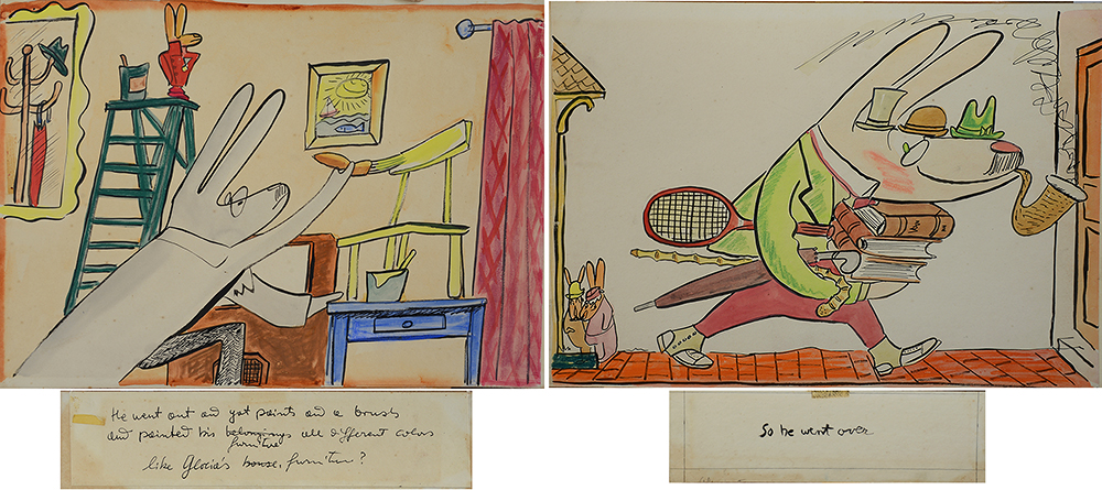 Ludwig Bemelmans - Glimp Painting Furniture. Glimp Smoking Meerschaum Pipe (With Captions)