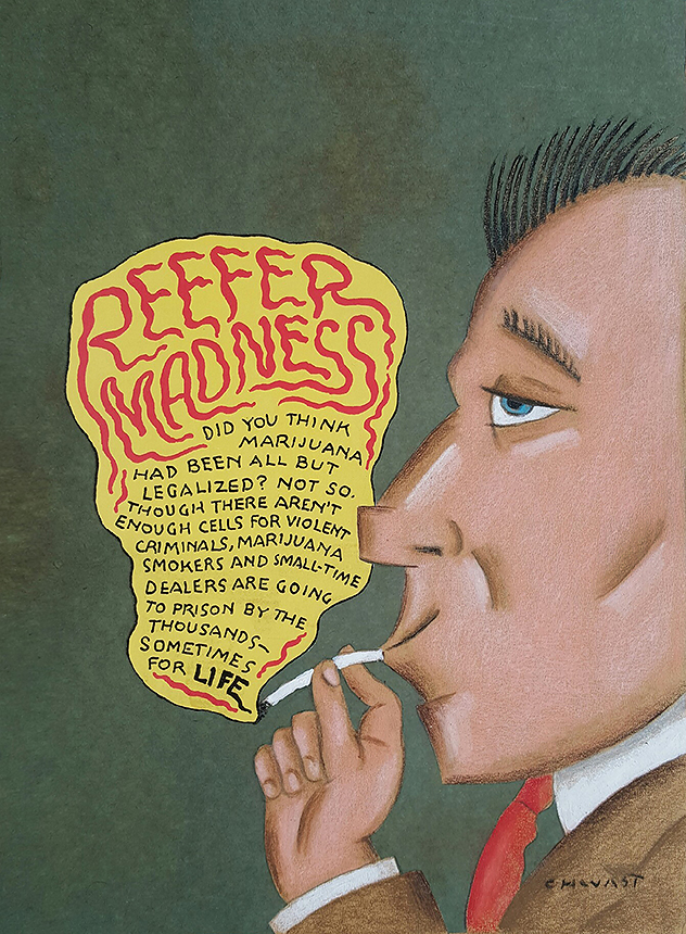 Seymour Chwast - Reefer Madness,  Cover Atlantic Monthly Magazine August 1994