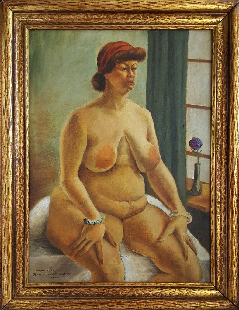 John Steuart Curry - Hilda Nellis, seated nude woman