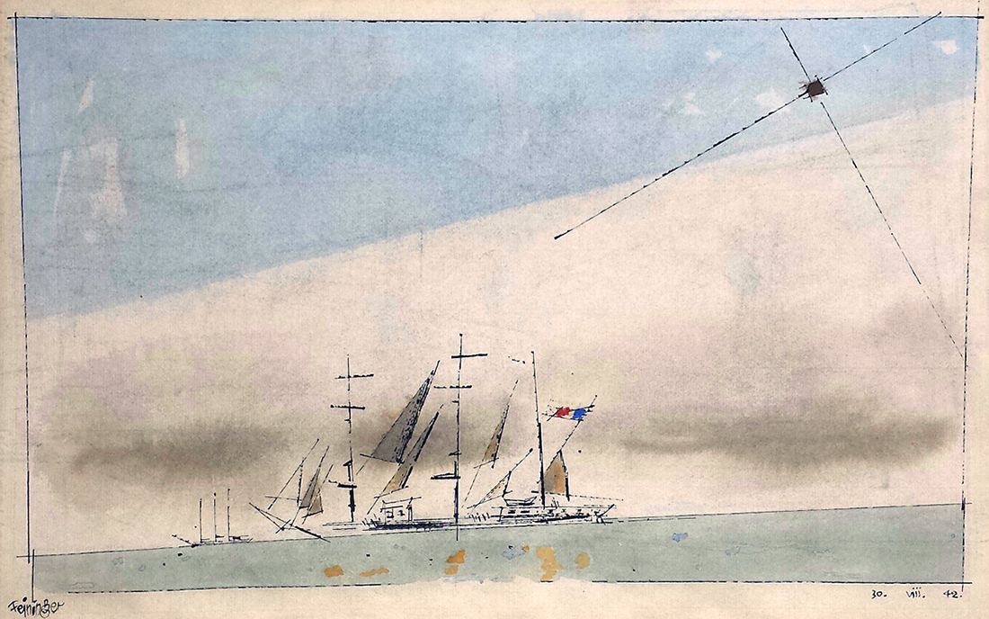 Lyonel Feininger - Untitled (French Barque under Staysail)