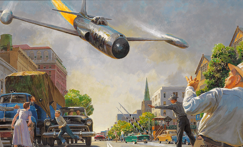 Peter Helck - For a horrible instant Carter thought the jet was going to crash in the street