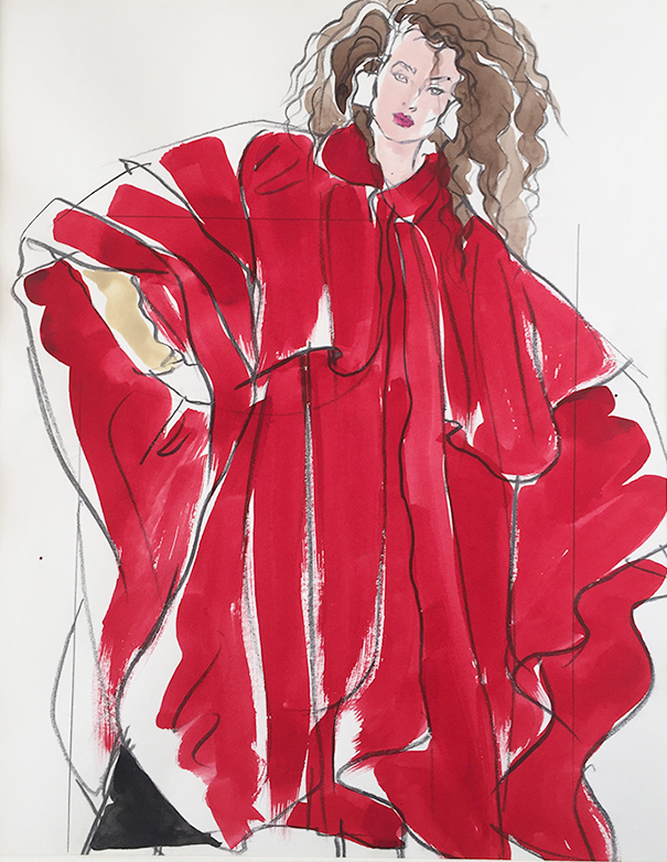 Antonio Lopez - Woman in red frontal view, S. Burroughs