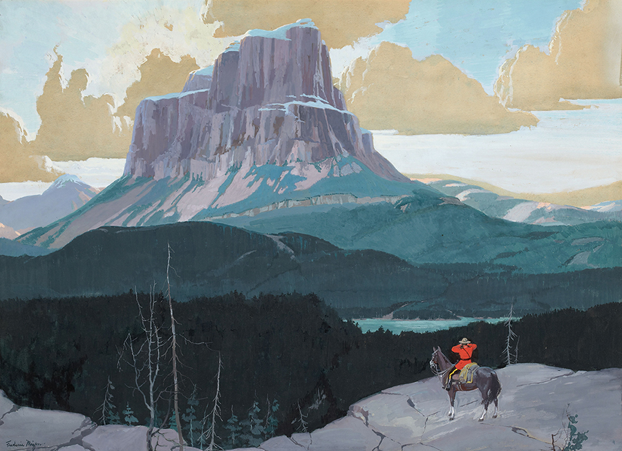 Frederic Kimball Mizen - Canadian Mountie Gazing at Butte Mountain