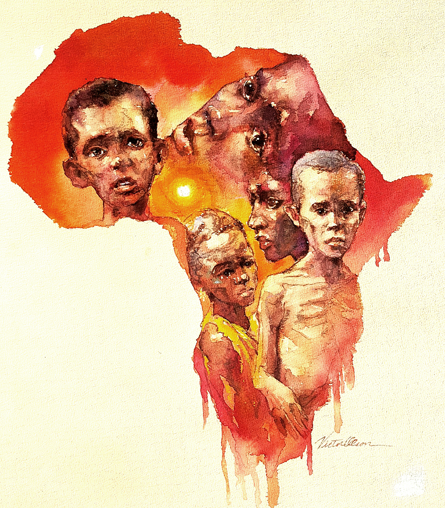 Victor Olson - Starving Africa Illustration
