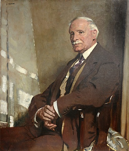 Sir William Orpen - Portrait of Thomas Glass, seated half-length, in a brown three-piece suit