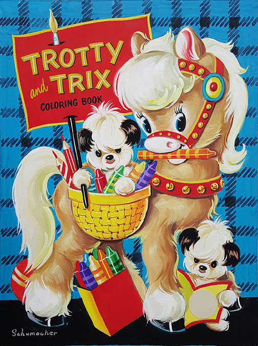 J.A. Schumacher - Trotty And Trix Coloring Book, Cover Art