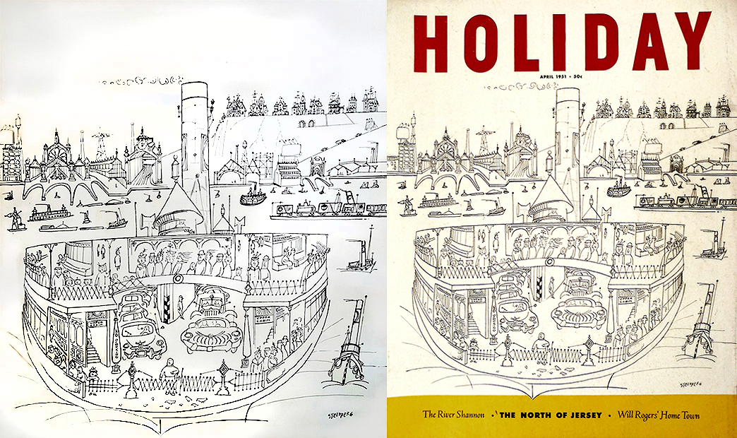 Saul Steinberg - Holiday Magazine Cover, April 1951