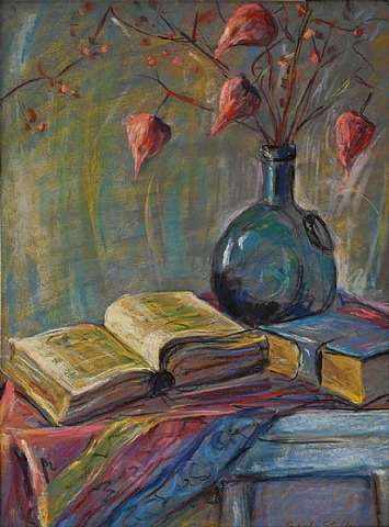 Joseph Stella - Still Life of Books and Chinese Lanterns